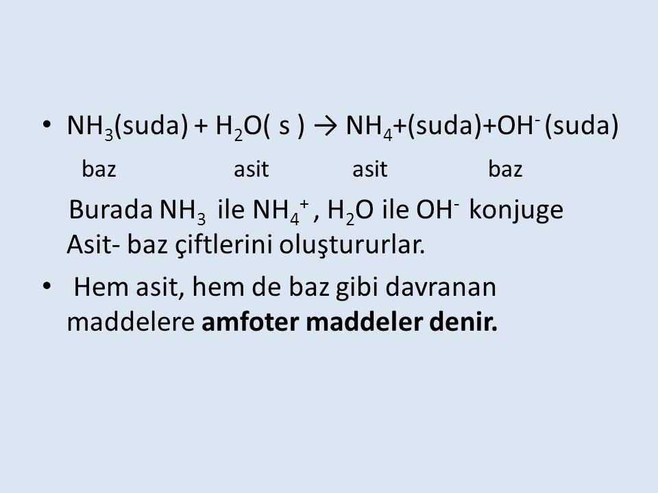 NH3(suda) + H2O( s ) → NH4+(suda)+OH- (suda)