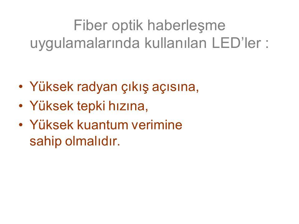 Fiber optik haberleşme uygulamalarında kullanılan LED'ler :