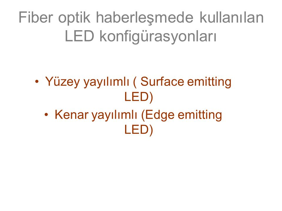 Fiber optik haberleşmede kullanılan LED konfigürasyonları