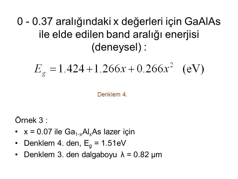 0 - 0.37 aralığındaki x değerleri için GaAlAs ile elde edilen band aralığı enerjisi (deneysel) :