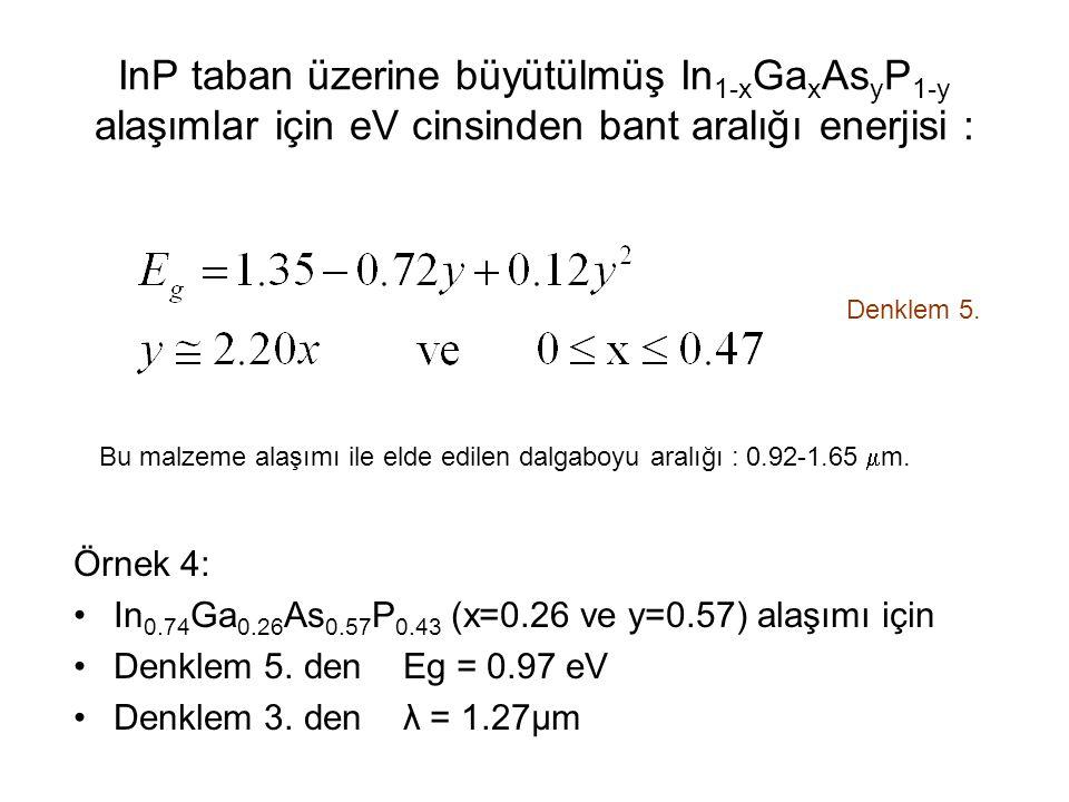 InP taban üzerine büyütülmüş In1-xGaxAsyP1-y alaşımlar için eV cinsinden bant aralığı enerjisi :
