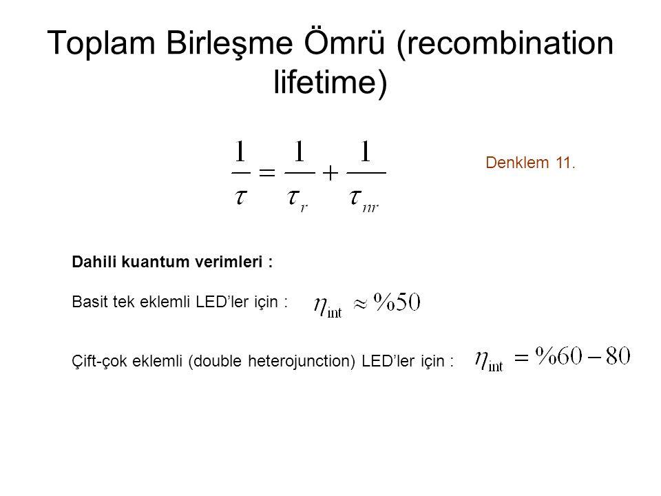 Toplam Birleşme Ömrü (recombination lifetime)