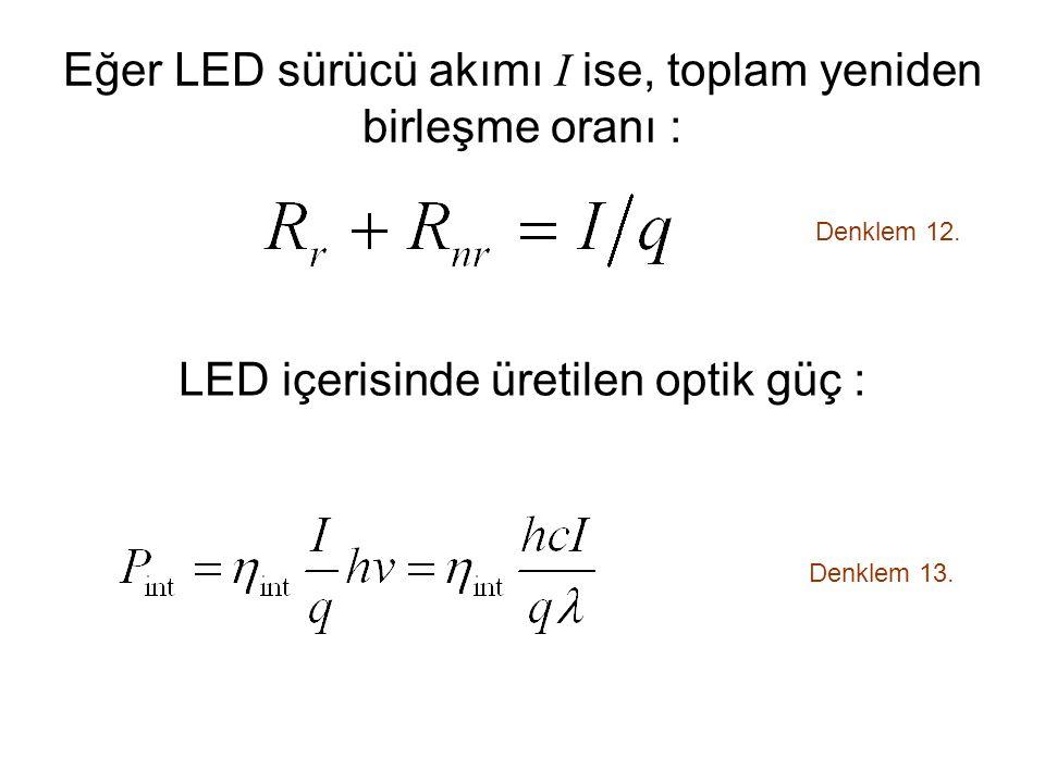 Eğer LED sürücü akımı I ise, toplam yeniden birleşme oranı :