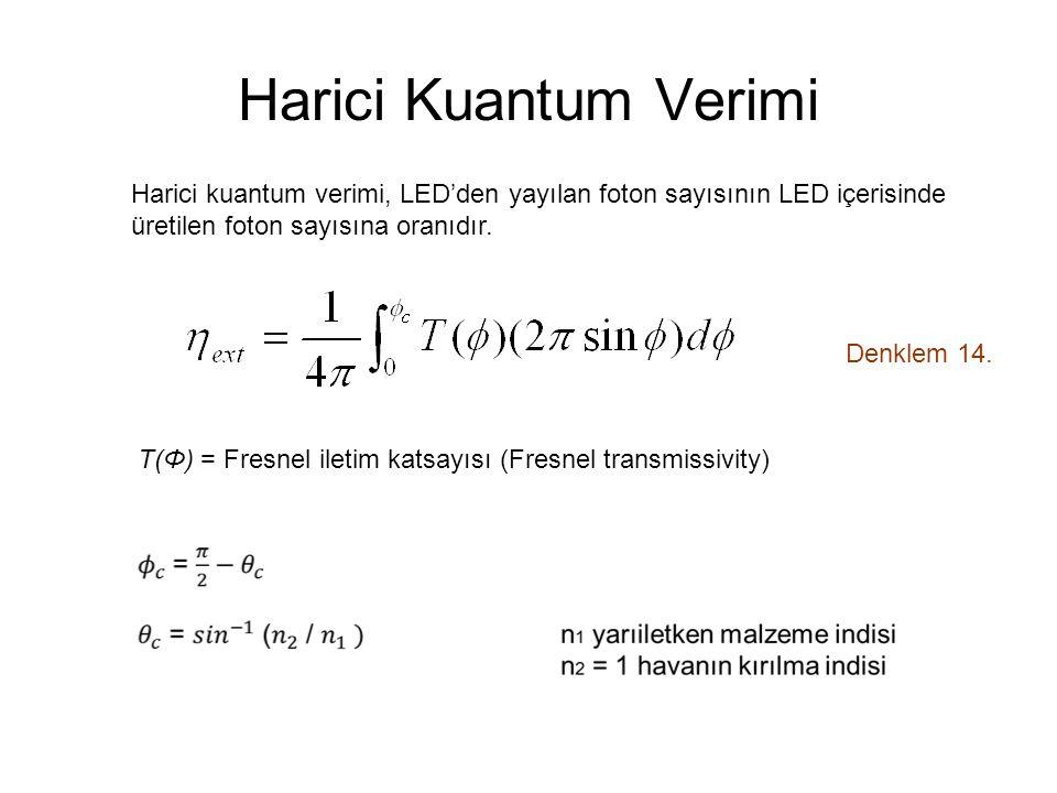 Harici Kuantum Verimi Harici kuantum verimi, LED'den yayılan foton sayısının LED içerisinde. üretilen foton sayısına oranıdır.