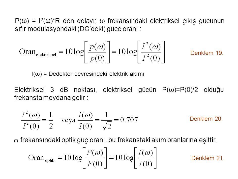 P(ω) = I2(ω)*R den dolayı; ω frekansındaki elektriksel çıkış gücünün sıfır modülasyondaki (DC'deki) güce oranı :