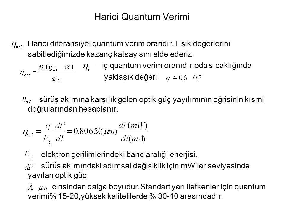 Harici Quantum Verimi Harici diferansiyel quantum verim orandır. Eşik değerlerini sabitlediğimizde kazanç katsayısını elde ederiz.