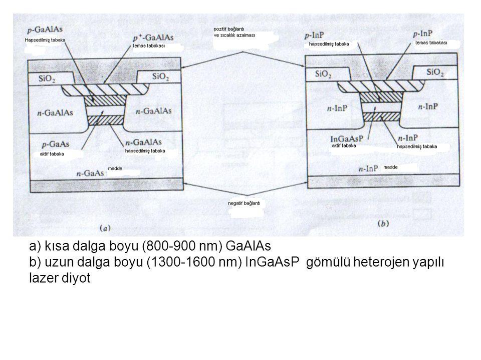 a) kısa dalga boyu (800-900 nm) GaAlAs