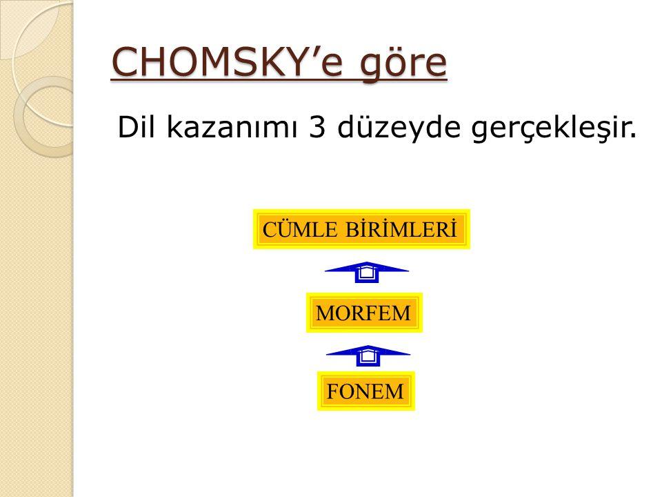 CHOMSKY'e göre Dil kazanımı 3 düzeyde gerçekleşir. CÜMLE BİRİMLERİ