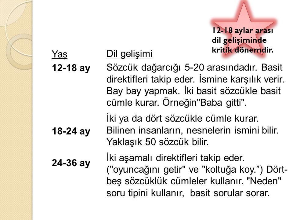 12-18 aylar arası dil gelişiminde