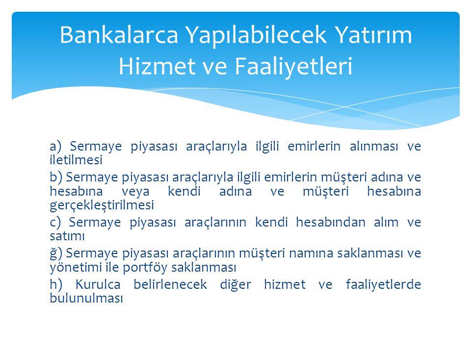 Bankalarca Yapılabilecek Yatırım Hizmet ve Faaliyetleri