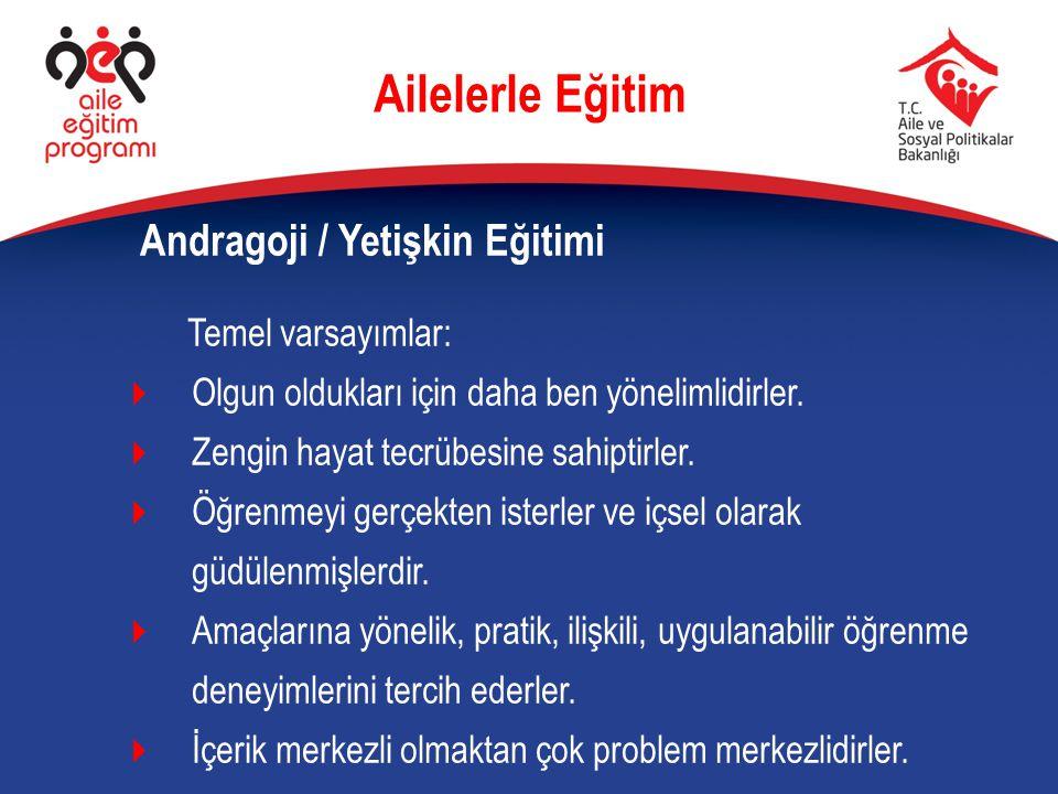 Ailelerle Eğitim Andragoji / Yetişkin Eğitimi Temel varsayımlar: