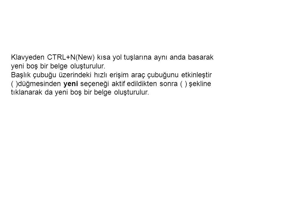 Klavyeden CTRL+N(New) kısa yol tuşlarına aynı anda basarak yeni boş bir belge oluşturulur.