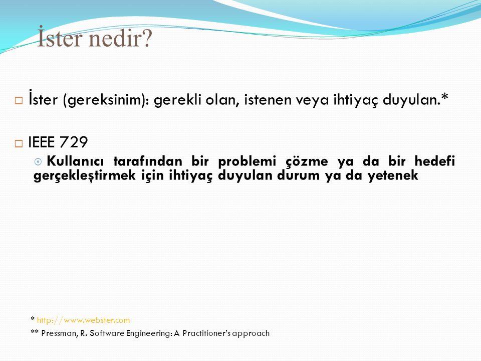İster nedir  İster (gereksinim): gerekli olan, istenen veya ihtiyaç duyulan.*  IEEE 729.