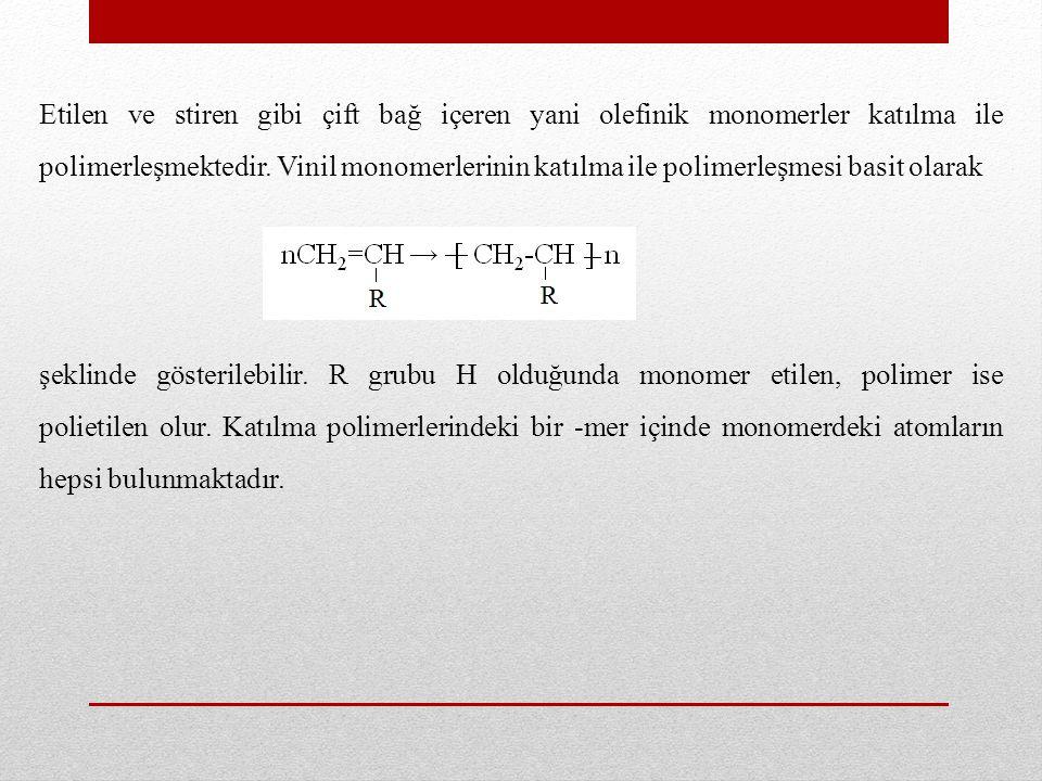 Etilen ve stiren gibi çift bağ içeren yani olefinik monomerler katılma ile polimerleşmektedir. Vinil monomerlerinin katılma ile polimerleşmesi basit olarak