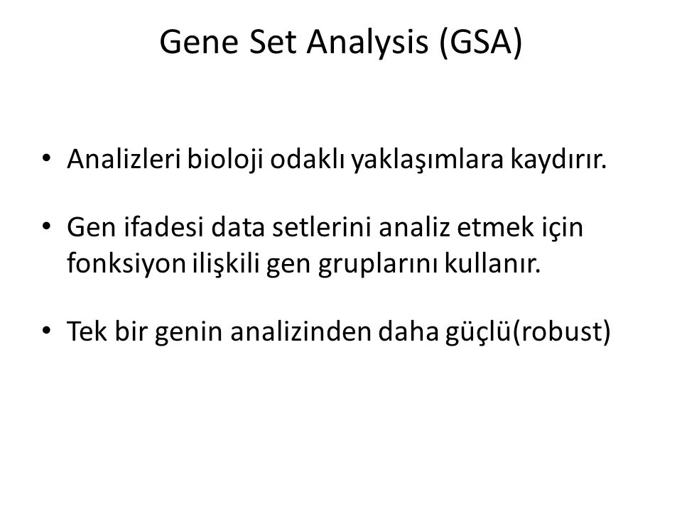 Gene Set Analysis (GSA)