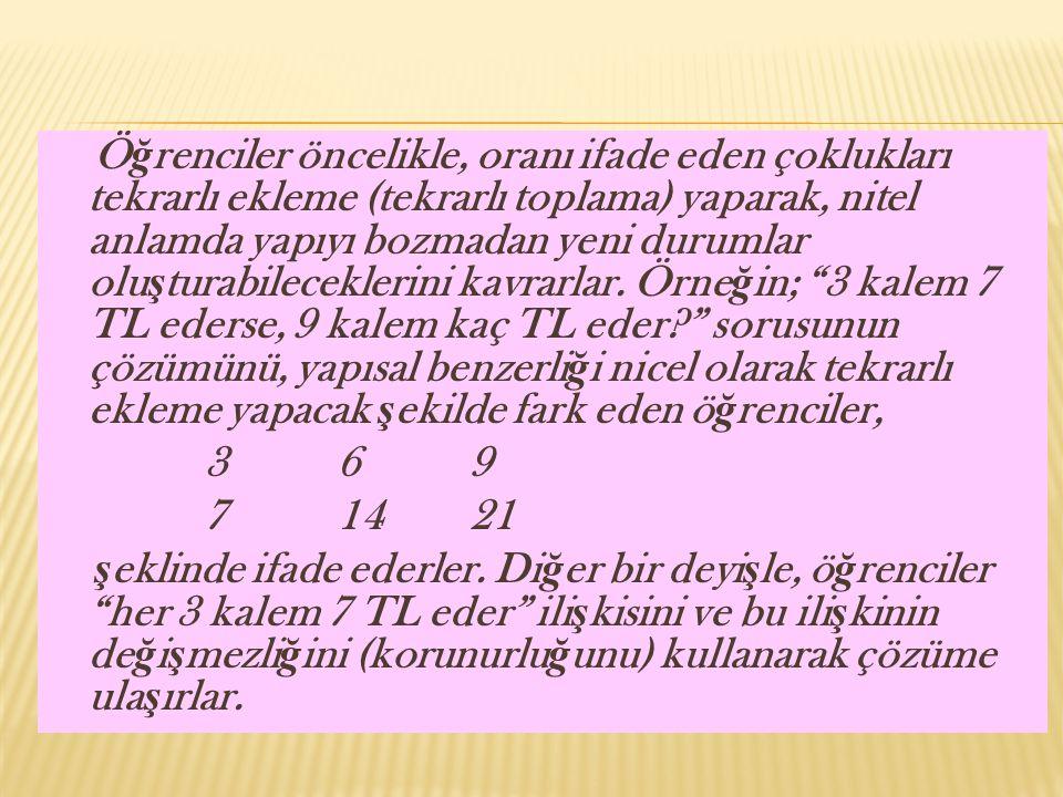 Öğrenciler öncelikle, oranı ifade eden çoklukları tekrarlı ekleme (tekrarlı toplama) yaparak, nitel anlamda yapıyı bozmadan yeni durumlar oluşturabileceklerini kavrarlar. Örneğin; 3 kalem 7 TL ederse, 9 kalem kaç TL eder sorusunun çözümünü, yapısal benzerliği nicel olarak tekrarlı ekleme yapacak şekilde fark eden öğrenciler,