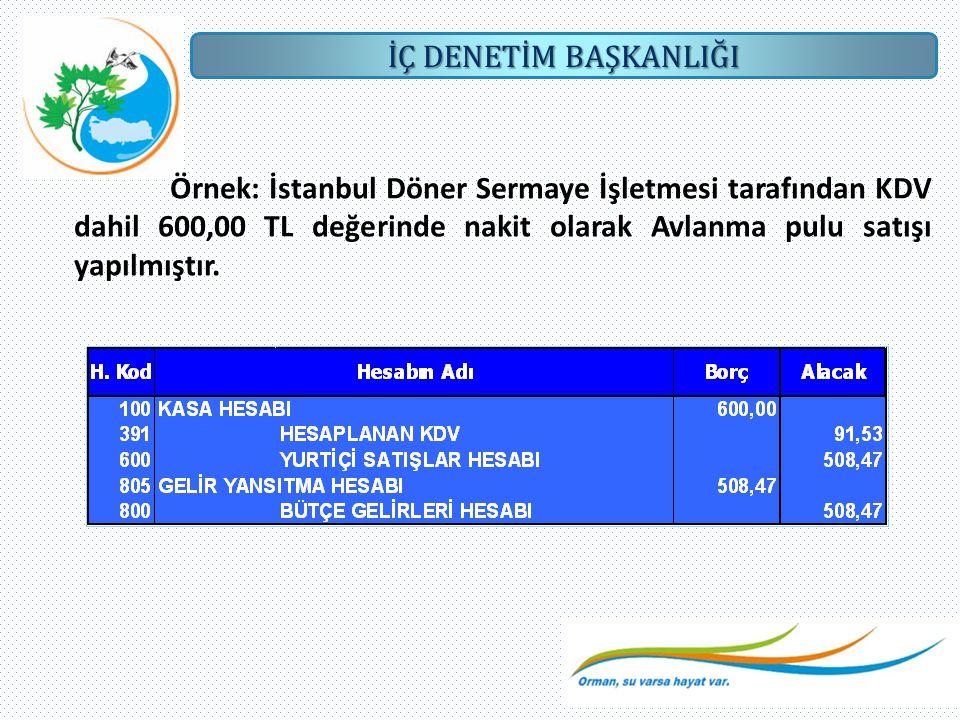 Örnek: İstanbul Döner Sermaye İşletmesi tarafından KDV dahil 600,00 TL değerinde nakit olarak Avlanma pulu satışı yapılmıştır.