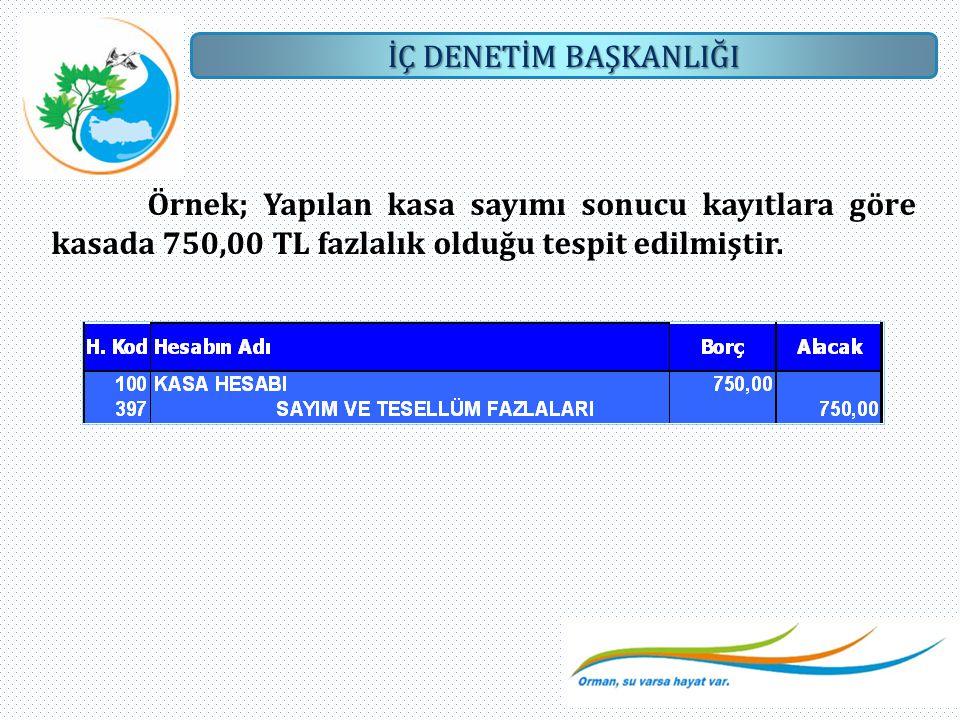 Örnek; Yapılan kasa sayımı sonucu kayıtlara göre kasada 750,00 TL fazlalık olduğu tespit edilmiştir.