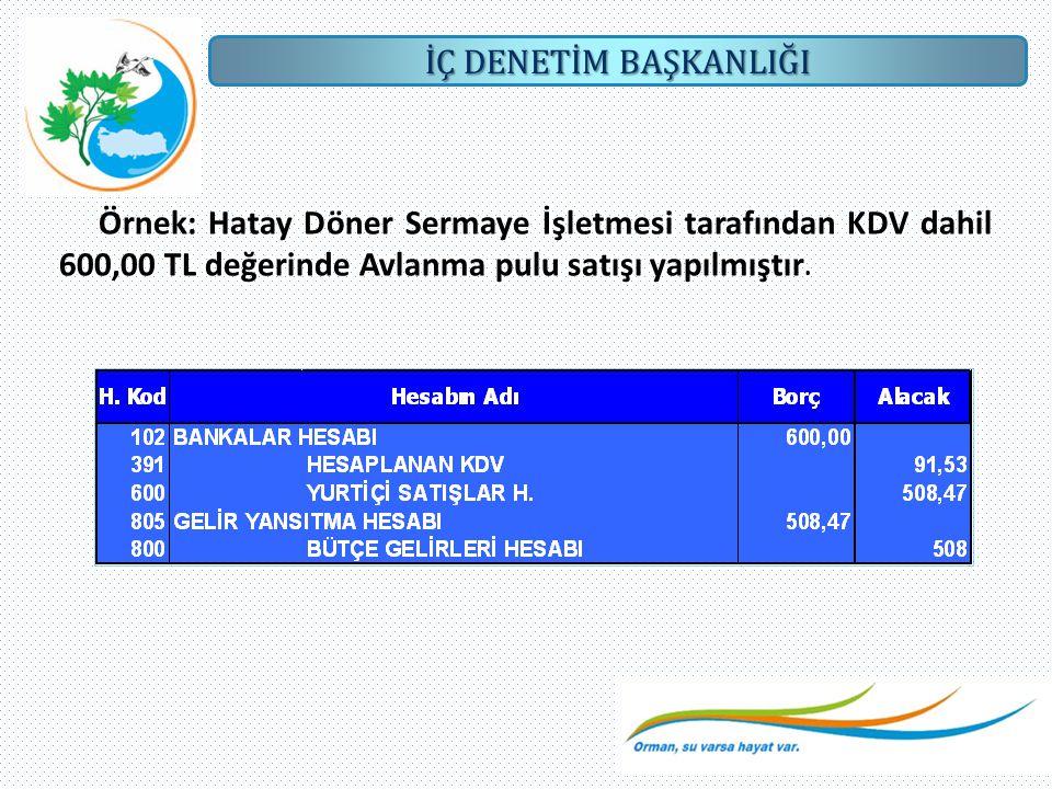 Örnek: Hatay Döner Sermaye İşletmesi tarafından KDV dahil 600,00 TL değerinde Avlanma pulu satışı yapılmıştır.