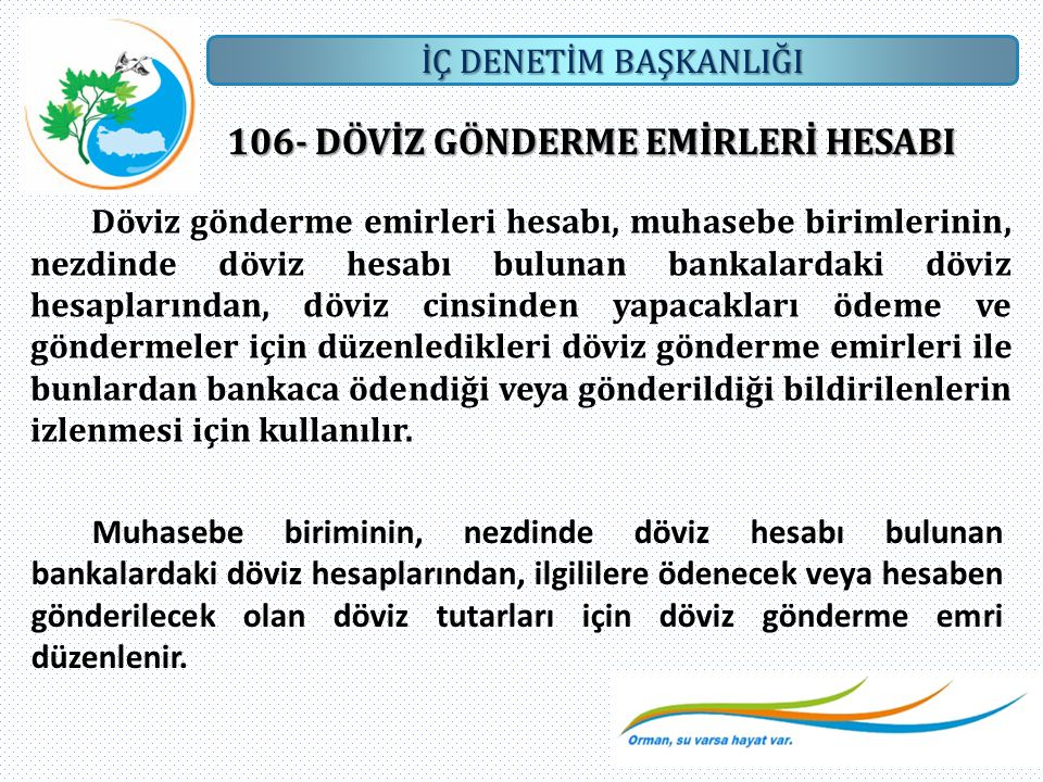 106- DÖVİZ GÖNDERME EMİRLERİ HESABI