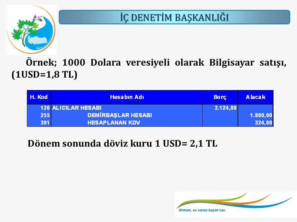 Örnek; 1000 Dolara veresiyeli olarak Bilgisayar satışı, (1USD=1,8 TL)
