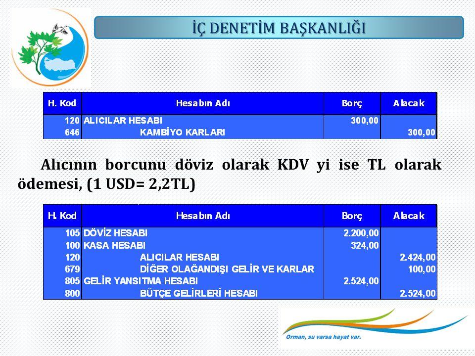 Alıcının borcunu döviz olarak KDV yi ise TL olarak ödemesi, (1 USD= 2,2TL)