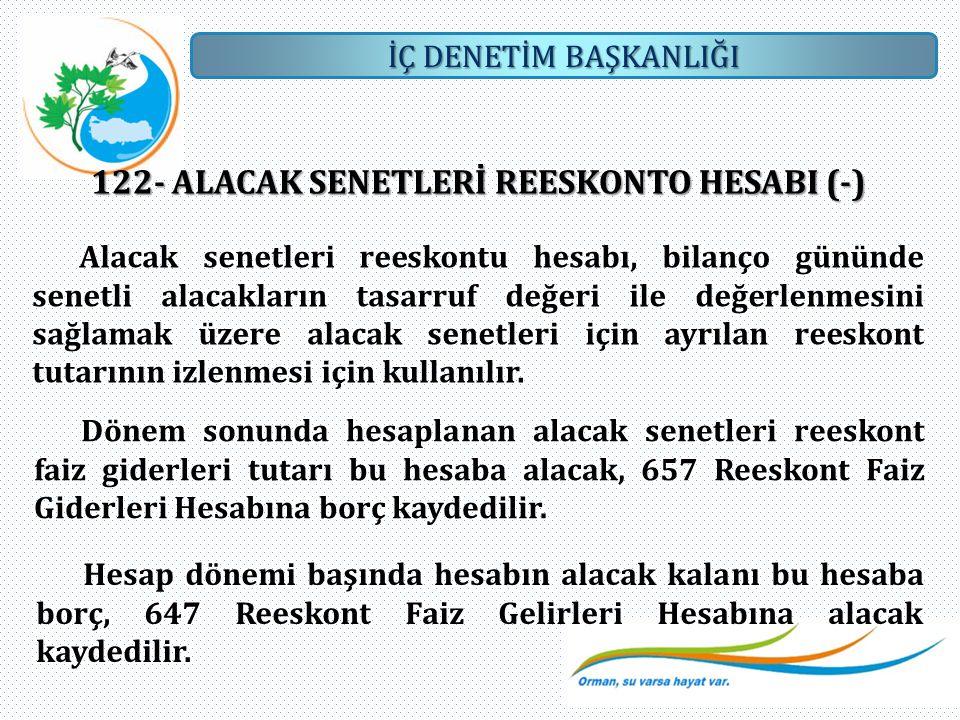 122- ALACAK SENETLERİ REESKONTO HESABI (-)