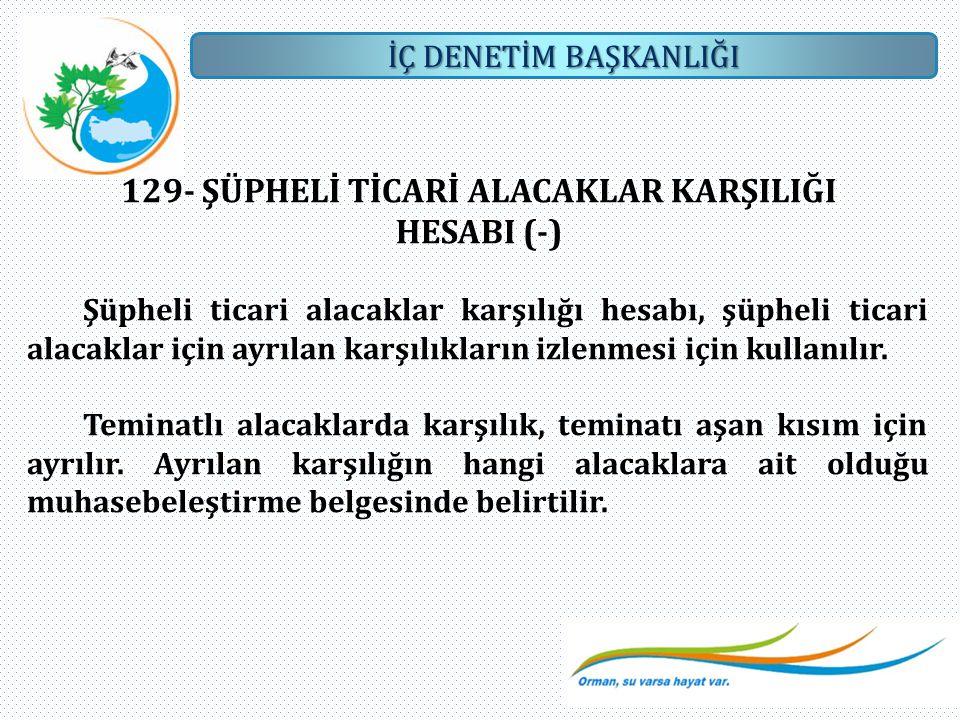 129- ŞÜPHELİ TİCARİ ALACAKLAR KARŞILIĞI HESABI (-)