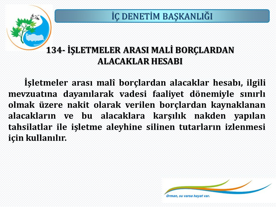 134- İŞLETMELER ARASI MALİ BORÇLARDAN ALACAKLAR HESABI