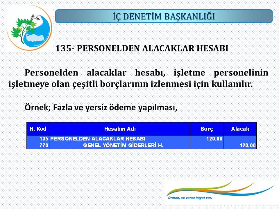 135- PERSONELDEN ALACAKLAR HESABI