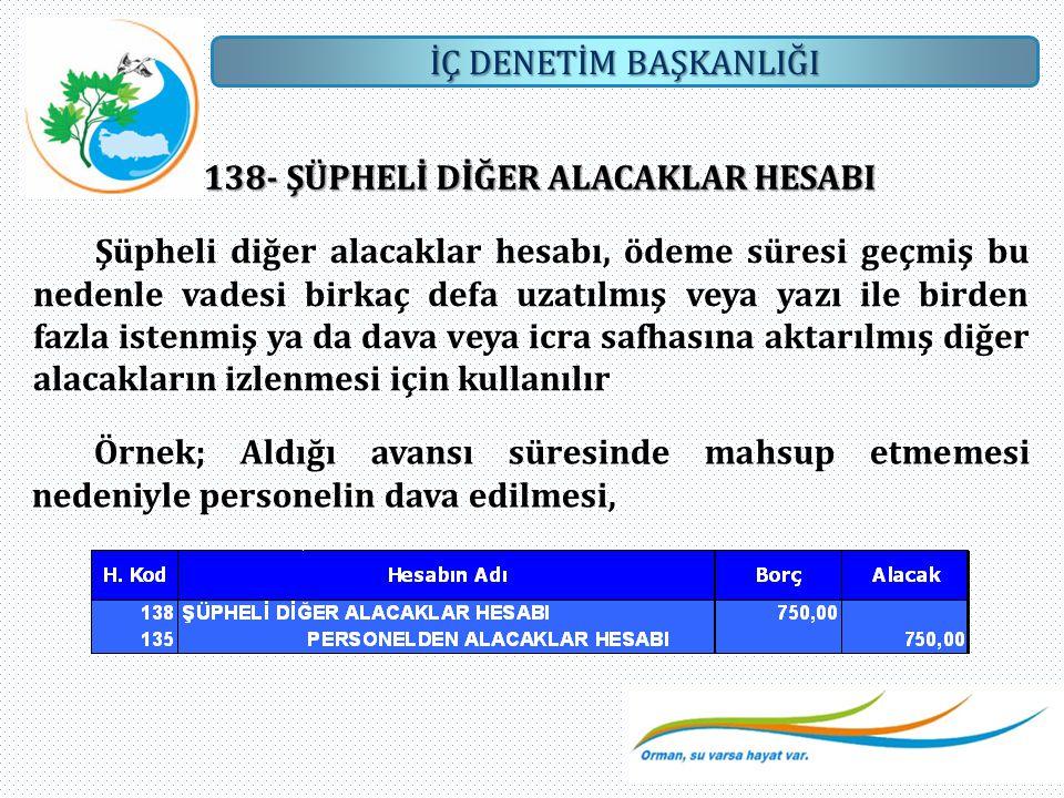 138- ŞÜPHELİ DİĞER ALACAKLAR HESABI