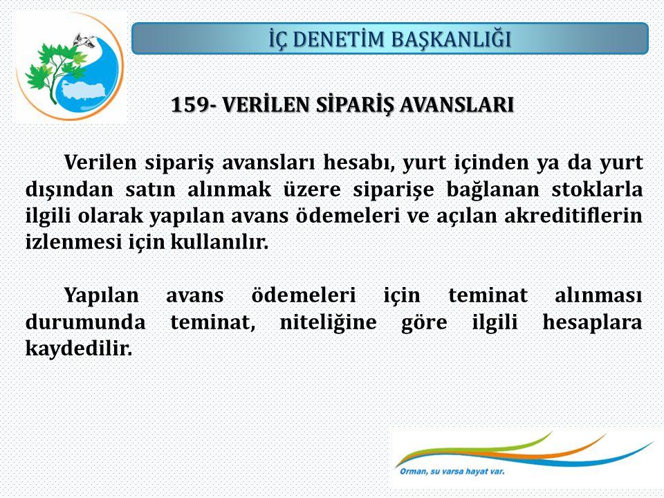 159- VERİLEN SİPARİŞ AVANSLARI