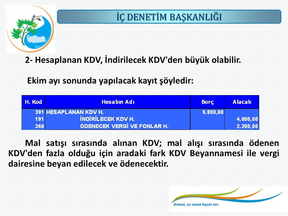 2- Hesaplanan KDV, İndirilecek KDV den büyük olabilir.