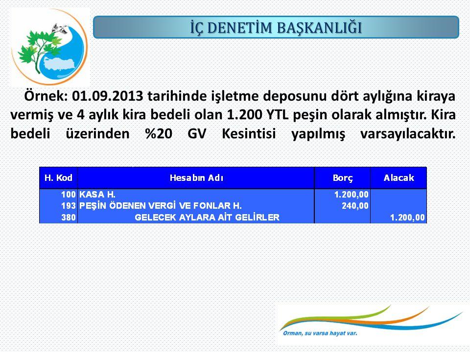 Örnek: 01.09.2013 tarihinde işletme deposunu dört aylığına kiraya vermiş ve 4 aylık kira bedeli olan 1.200 YTL peşin olarak almıştır.