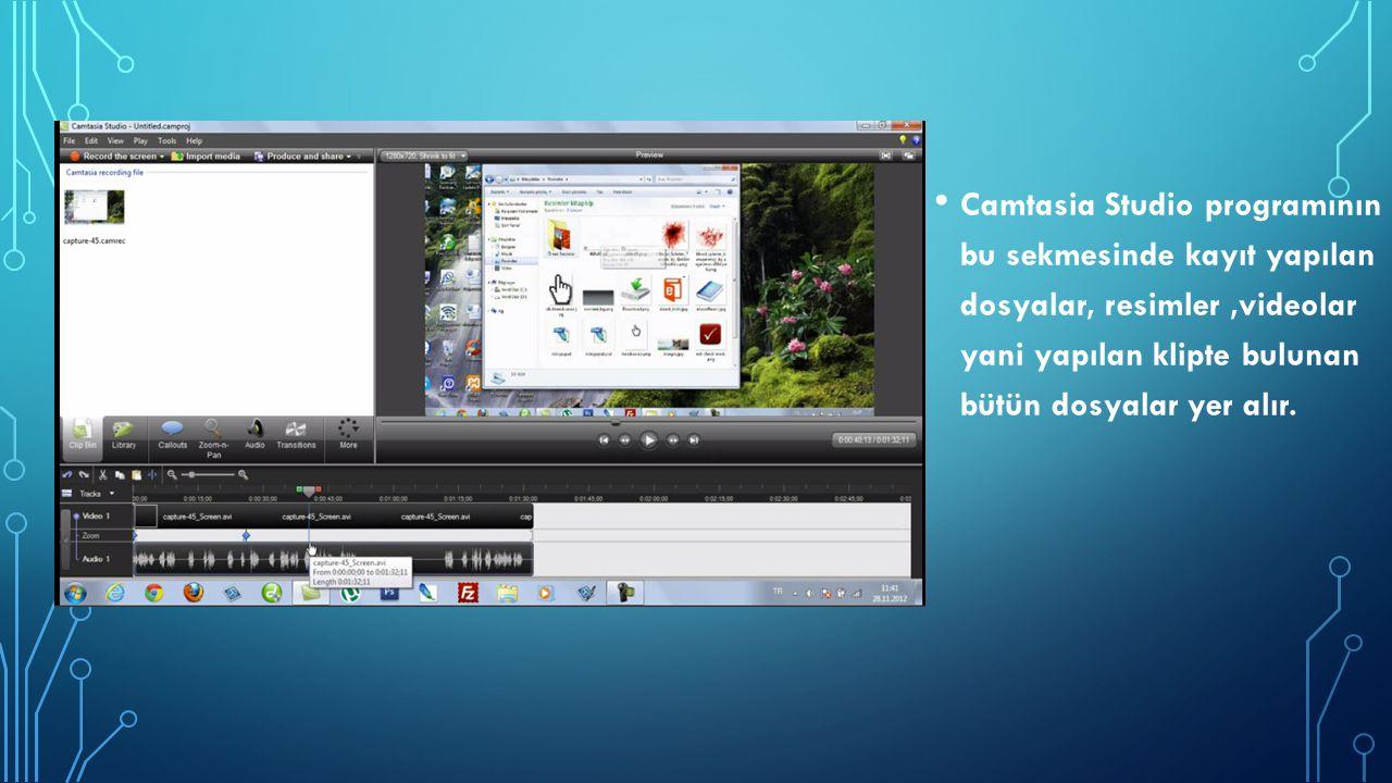 Camtasia Studio programının bu sekmesinde kayıt yapılan dosyalar, resimler ,videolar yani yapılan klipte bulunan bütün dosyalar yer alır.