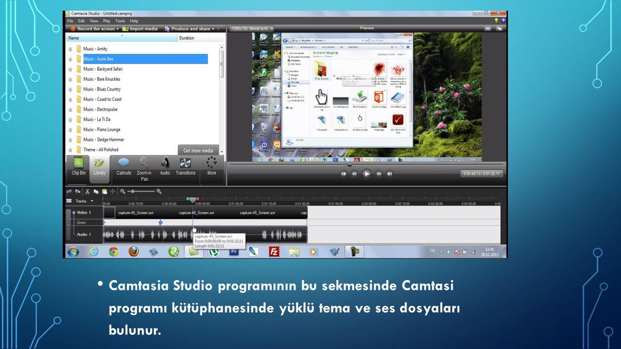 Camtasia Studio programının bu sekmesinde Camtasi programı kütüphanesinde yüklü tema ve ses dosyaları bulunur.