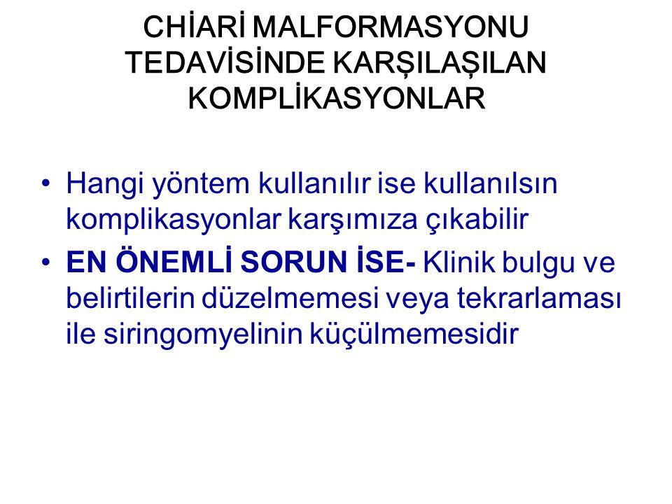 CHİARİ MALFORMASYONU TEDAVİSİNDE KARŞILAŞILAN KOMPLİKASYONLAR