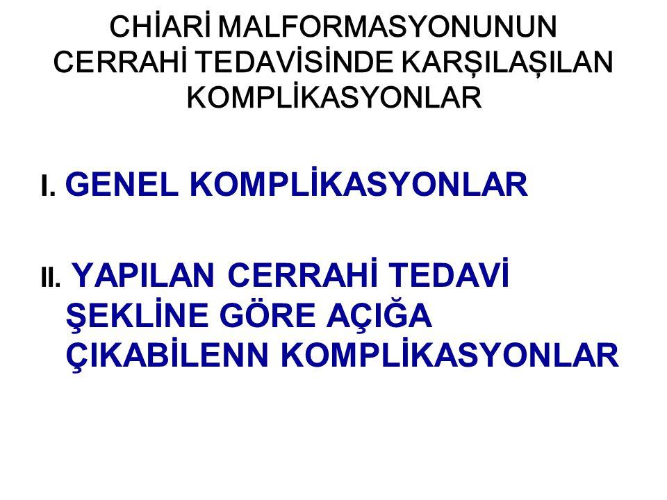 I. GENEL KOMPLİKASYONLAR