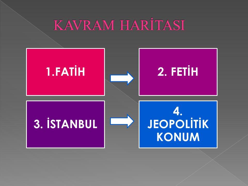 KAVRAM HARİTASI 1.FATİH 2. FETİH 3. İSTANBUL 4. JEOPOLİTİK KONUM