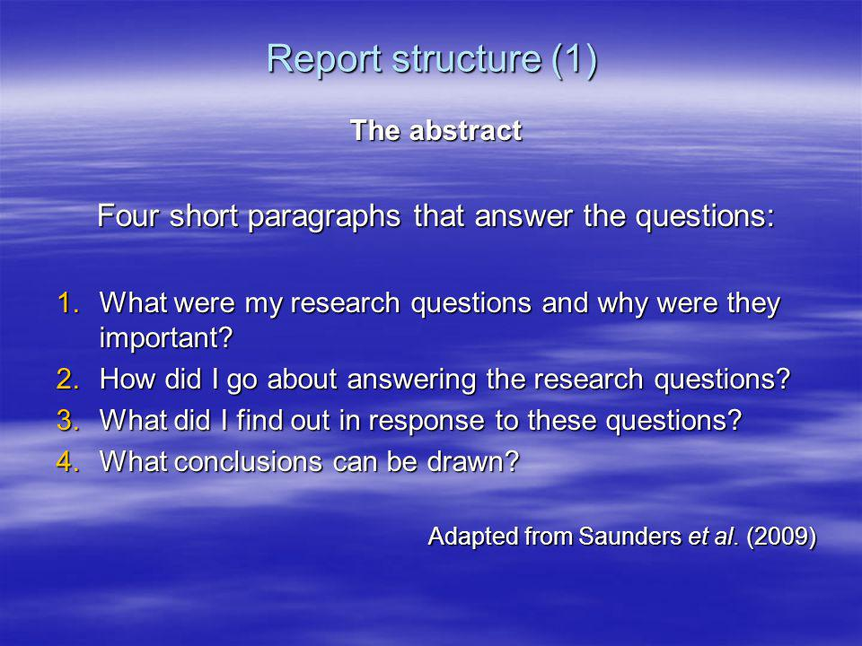 Four short paragraphs that answer the questions:
