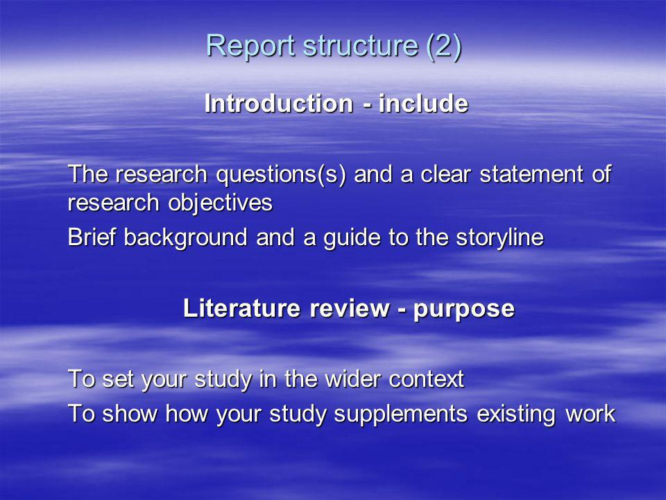 Literature review - purpose