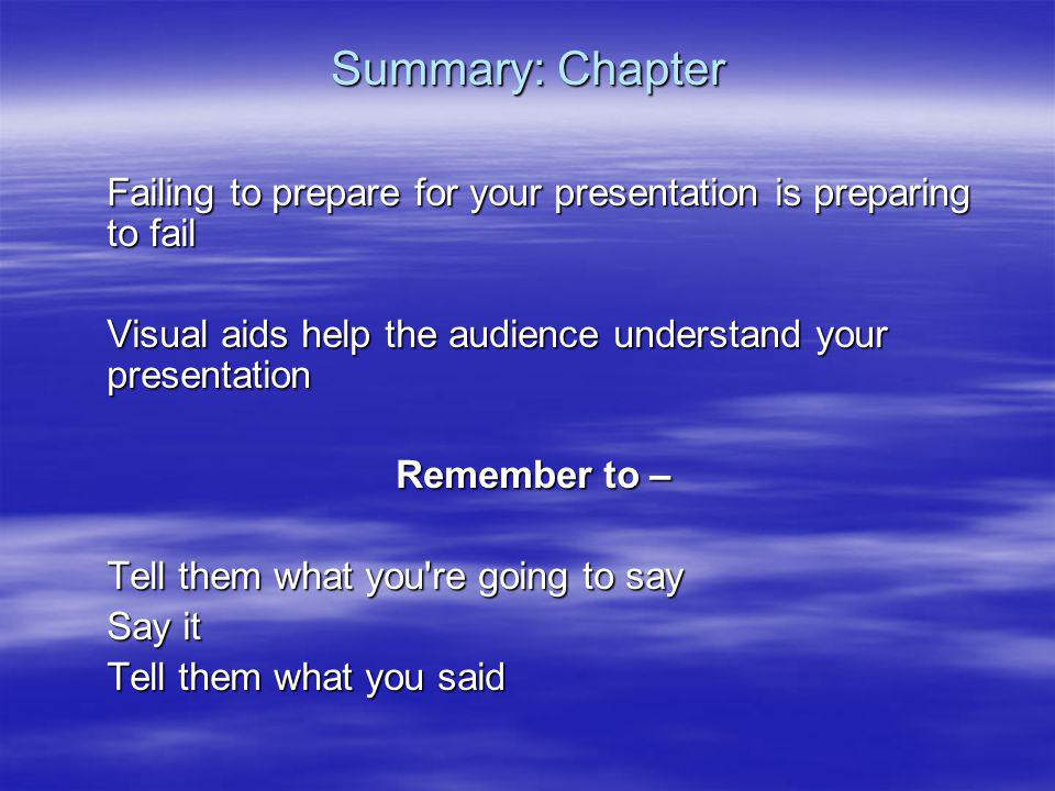 Summary: Chapter Failing to prepare for your presentation is preparing to fail. Visual aids help the audience understand your presentation.