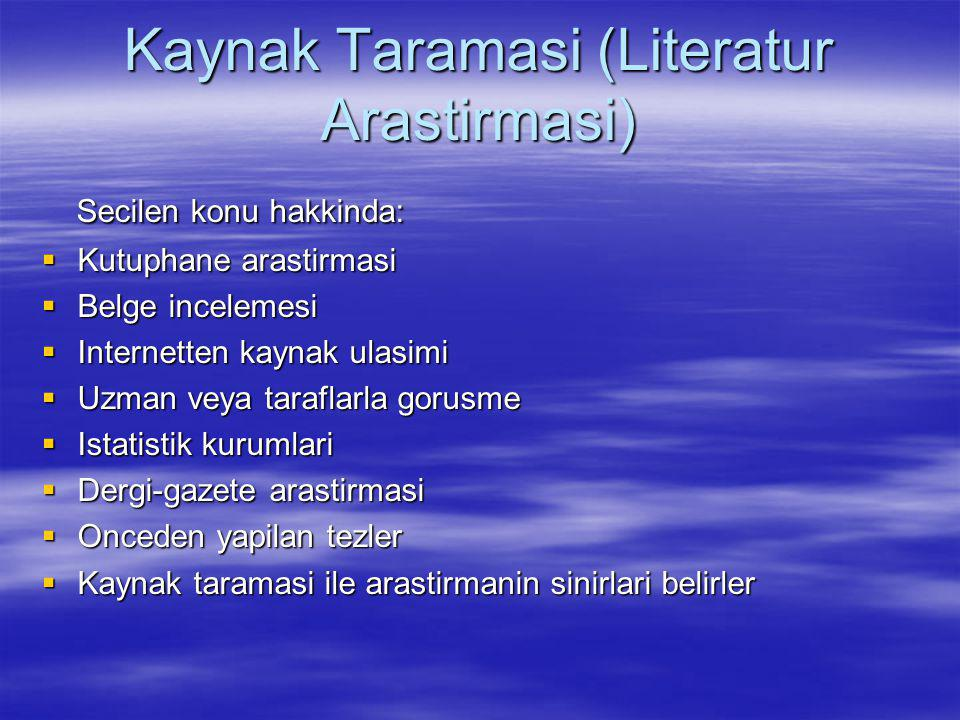 Kaynak Taramasi (Literatur Arastirmasi)