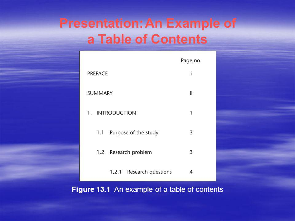 Presentation: An Example of a Table of Contents