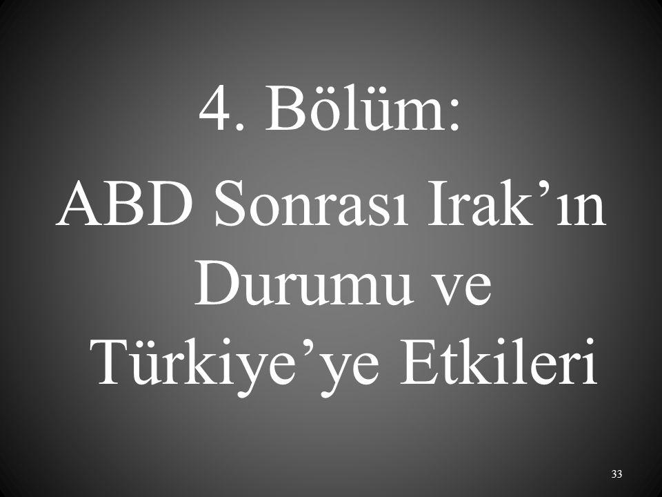 4. Bölüm: ABD Sonrası Irak'ın Durumu ve Türkiye'ye Etkileri