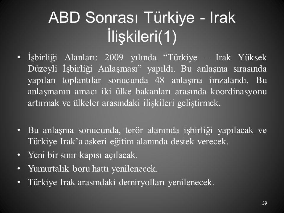 ABD Sonrası Türkiye - Irak İlişkileri(1)