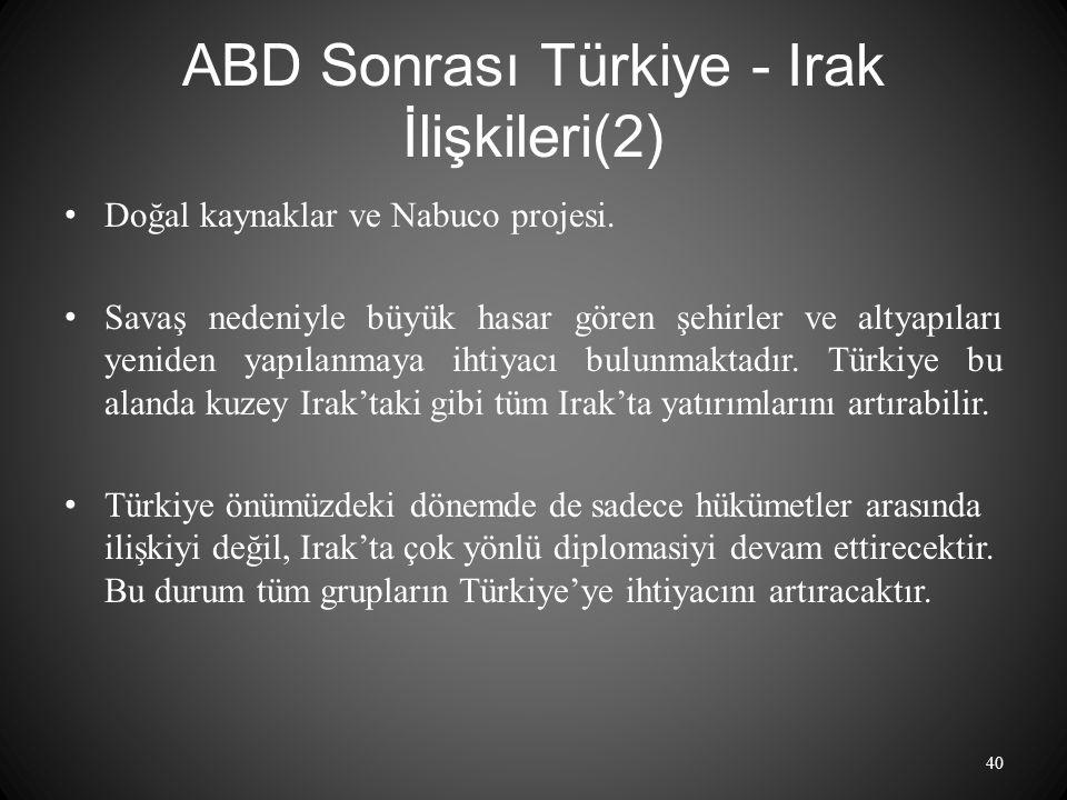 ABD Sonrası Türkiye - Irak İlişkileri(2)