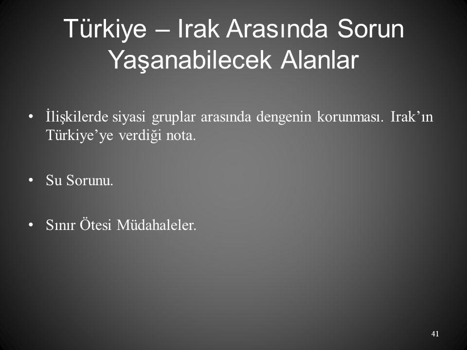 Türkiye – Irak Arasında Sorun Yaşanabilecek Alanlar