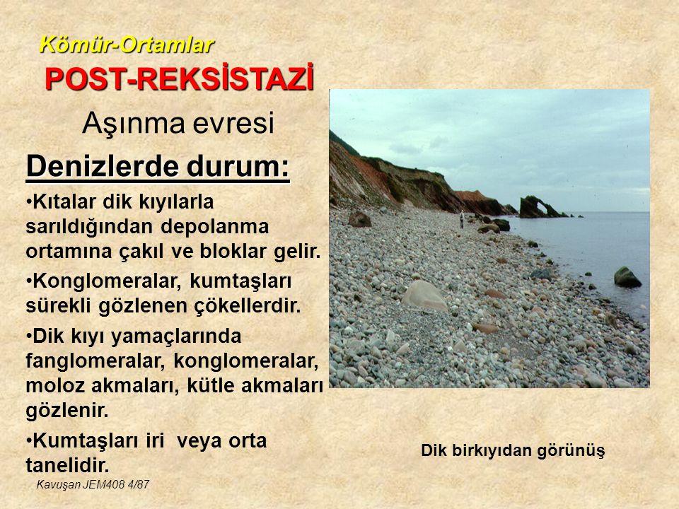 POST-REKSİSTAZİ Aşınma evresi Denizlerde durum: Kömür-Ortamlar