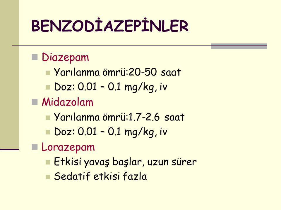 BENZODİAZEPİNLER Diazepam Midazolam Lorazepam